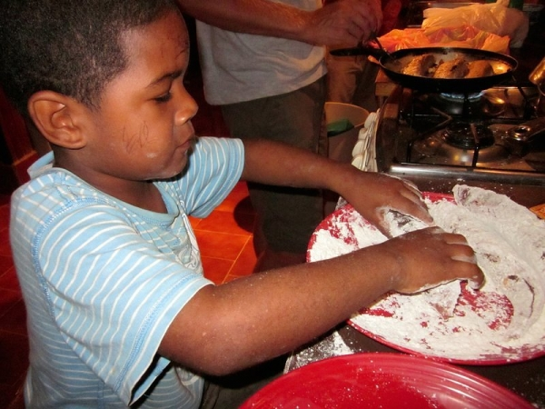 Oli Cooking on Little Cay