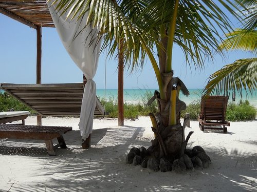 Relaxing at the beach on Isla Holbox