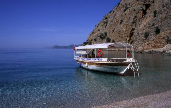 ey a secluded beach and cove a short distance by boat from Olu Deniz, Turkey