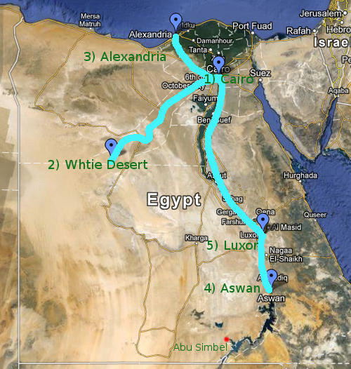 Map of Our Egypt Route