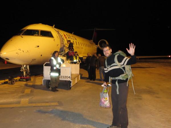 Boarding the Plane in Regina... one last blast of arctic chill!