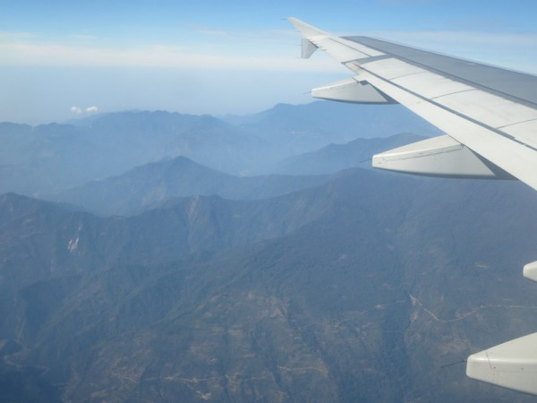 View from the plane as we approach Paro valley