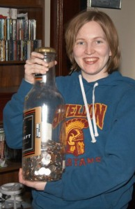 bottle of coins