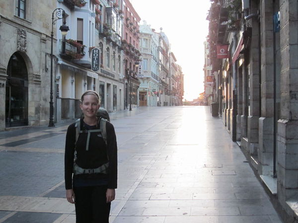 A quiet moment in the early morning streets of Leon