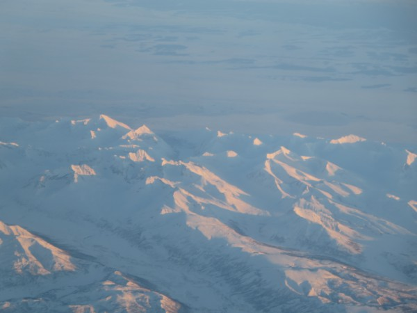 Beautiful views from the plane...somewhere over Alaska or Russia